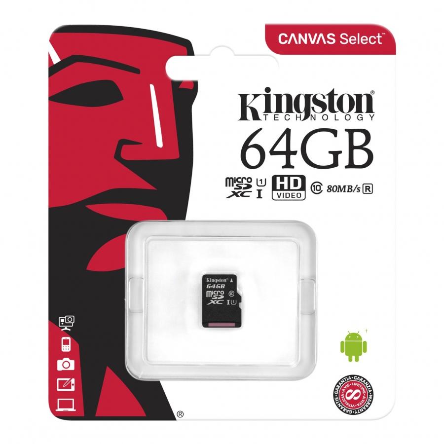 Atminties kortelė Kingston Ultra microSDHC 64 GB C10